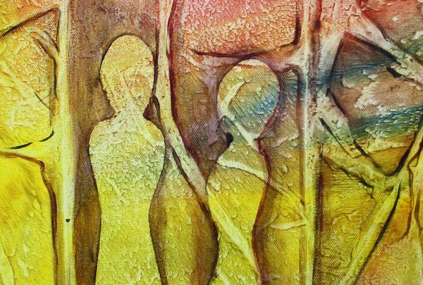 Figuren im Wald - abstrakte Gemaelde moderne Malerei rot gelb