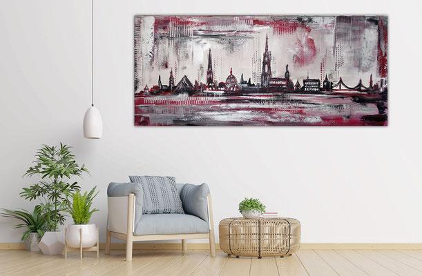 Skyline Ulm Münster RAthaus abstrakt gemaltes Wandbild Leinwandbild Gemälde