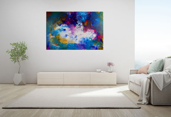Weiße Taube abstraktes Wandbild rosa blau Original Gemälde Unikat Acrylbild 116x81