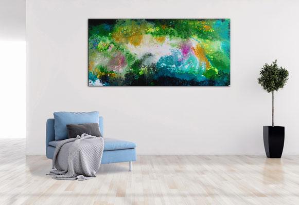 Frühling Moderne Malerei Fluid Art Künstler Originale Gemälde 70x145