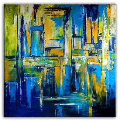 Abstraktes Wandbild XXL 180x180 abstrakte Malerei blau grün gelb gold