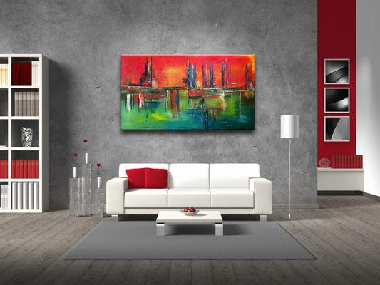 City Sunset abstraktes acrylbild rot gruen kunst bilder kaufen modern