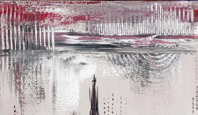 Skyline Ulm Münster RAthaus abstrakt Acrylbild Künstler Bild 140x60