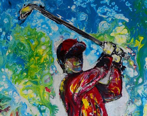 Golfspieler Bilder Abschlag Golfbilder handgemalt Wandbild Acrylbild Malerei Kunst