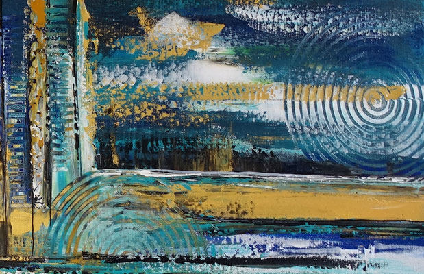 Nordwind abstrakte Malerei Wandbild blau gold handgemalt Original Gemälde