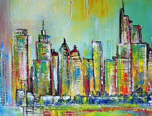 Frankfurt Skyline handgemalt abstrakte Malerei Gemälde Kunst Bild Acryl