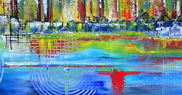 Frankfurt Skyline handgemalt abstrakte Malerei Gemälde Kunst Acryl 80x140