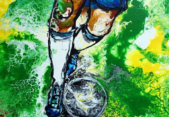 Wandbild Tempodribbling Fußball Malerei Sportbild Kunst bild Gemälde Unikat