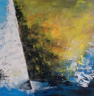 Feuersegler 80x80 Wandbild Segelboote Regatta Maritim abstrakt