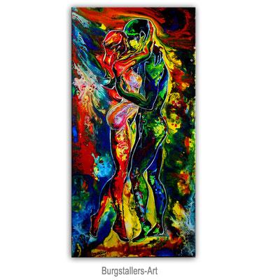 Begehrung Liebespaar Mann Frau handgemalt Acryl Gemälde