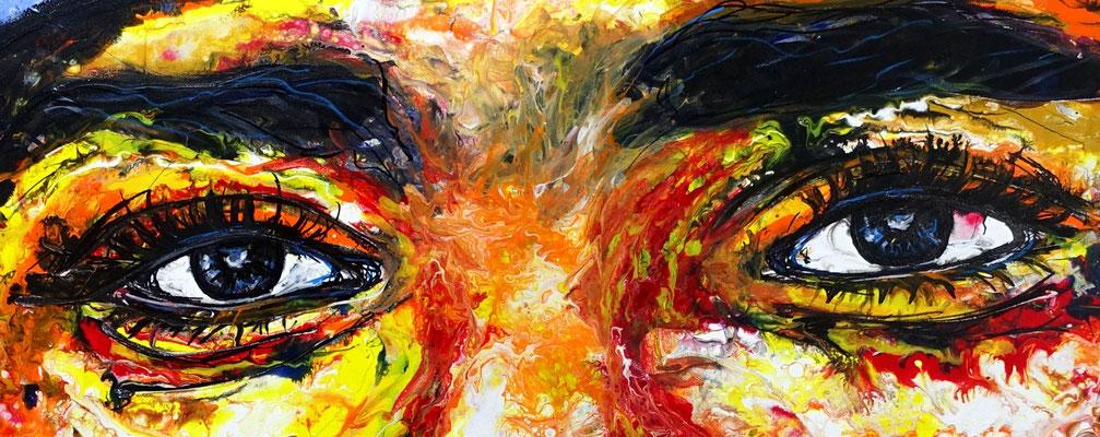 Beduinen Mann Tuareg Gesicht handdgemalt modern Pouring Acrylgemälde Malerei