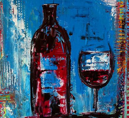Rotwein Flasche Gläser abstrakt gemalt Acryl Malerei Gemälde Unikate Leinwandbild blau