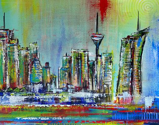 Frankfurt Skyline handgemalt abstrakte Malerei Gemälde Kunst Bild 80x140