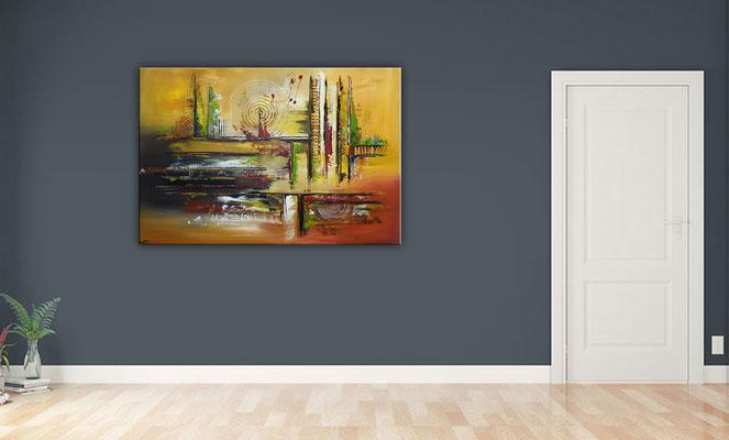 Cascaden Leinwandbild abstrakt gelb grün rot handgemalt Wandbild 130x90