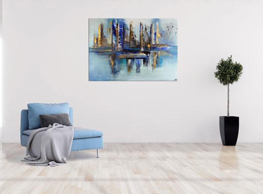 Hafenstadt abstrakte Malerei blau gold Wandbild Acrylbild Künstler Bild handgemalt 120x80