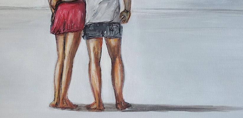 Anschmiegen Mann Frau Liebespaar  Strand Gemälde Malerei Kunstwerk 100x70
