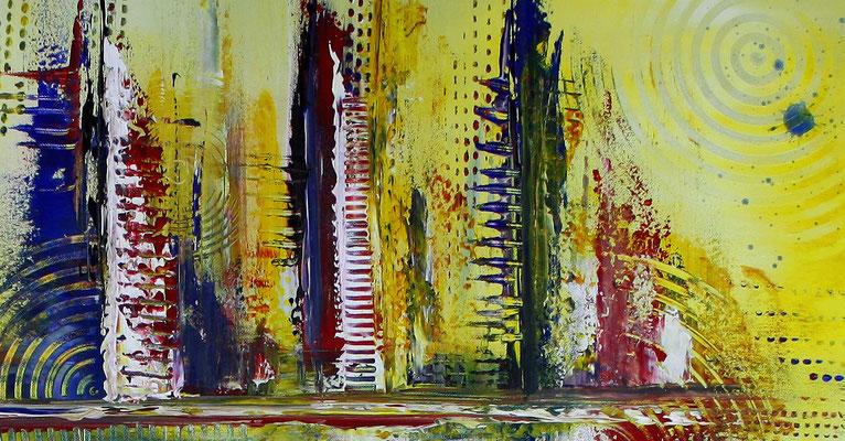 Timbuktu XXL gelb abstrakte kunst malerei bild gemälde modern