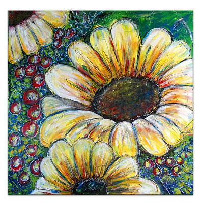 Sonnenblume Gemälde Malerei Acrylbild Unikat Leinwandbild Wandbild Praxis bilder 80x80