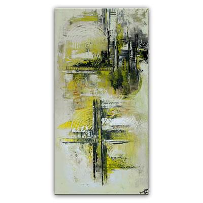 Infinion Abstrakte Malerei Wandbild Kunstbild Gelb grau 50x100 hochkant querformat