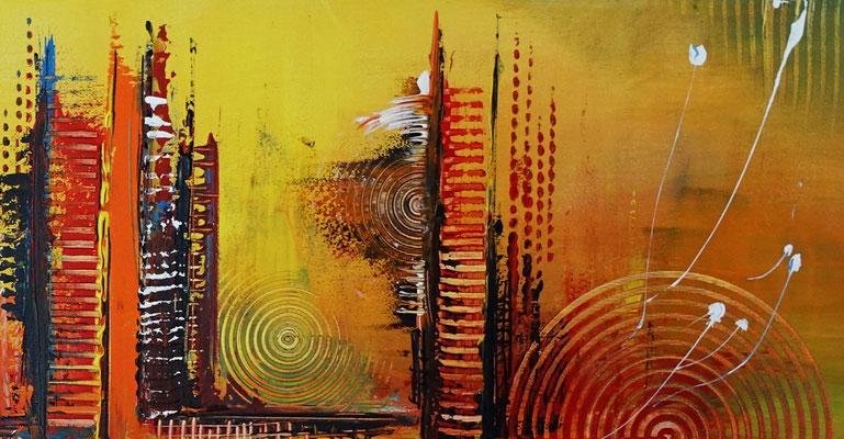 Nevada Skyline abstrakte Malerei gelb orange Leinwandbild Wandbild Acrylgemälde