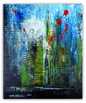 Golfball abstrakte Malerei Modernes Wandbild blau grün
