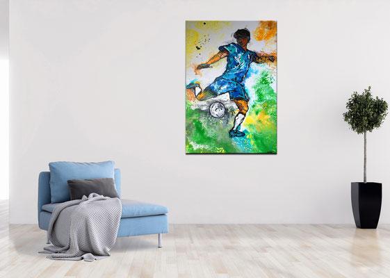 Abstoß Fußballer Spieler abstrakte Malerei Gemälde Kunstbild 60x90 Bild
