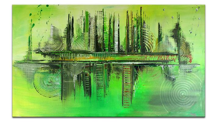 Skyline Grün Gelb 80x140 abstraktes Kunst Bild handgemalt Original Gemälde