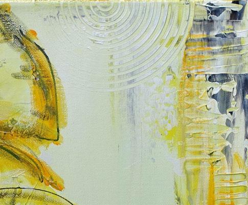 Zwei gelbe Blüten handgemaltes Blumenbild Wandbild Malerei Acryl