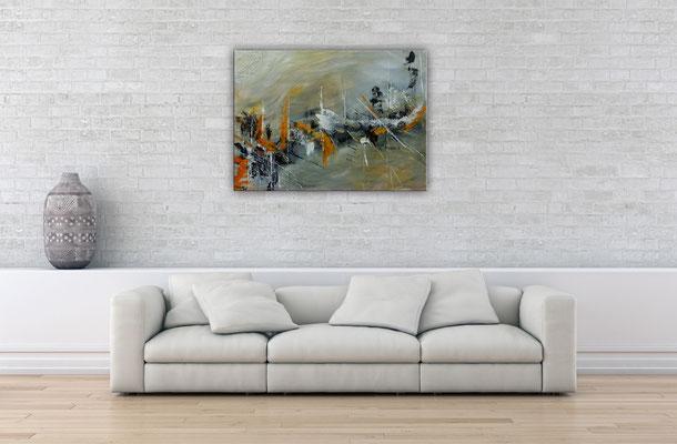 Schiffsbruch abstraktes Original Gemälde Bild grau beige