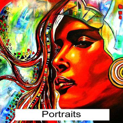 Handgemalte Bilder kaufen Gesichter Porträts Portraits