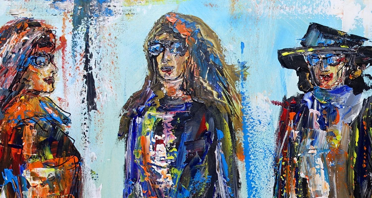 Streewalk Frauen Bilder auf Leinwand Menschen handgemaltes Gemälde Modern