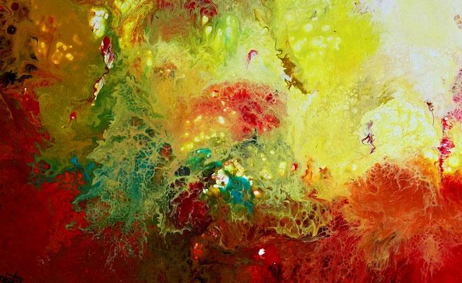 Urknall 4 abstraktes Wandbild rot gelb Malerei Kunstbild Unikat 80x100