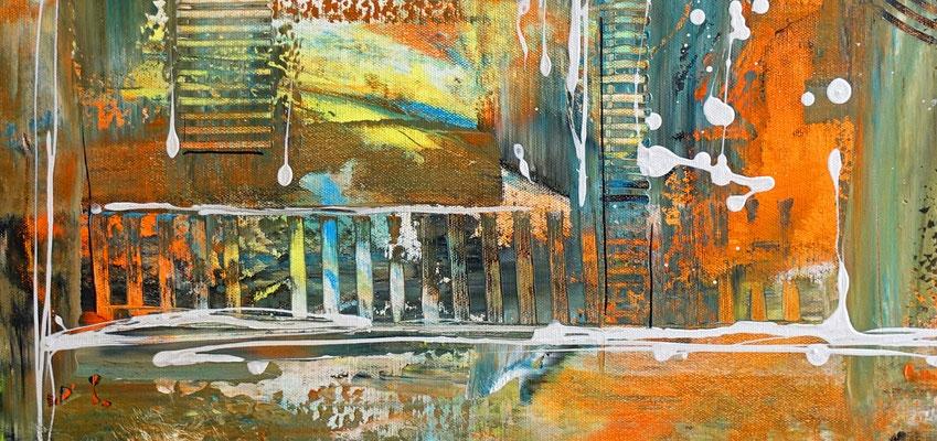 Wallstreet abstrakte Malerei Original Acrylgemälde Unikat orange cyan 100x50