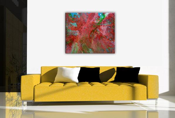 Fluid Painting rot blau abstrakte Malerei Pouring Acryl Gemälde Unikat günstig