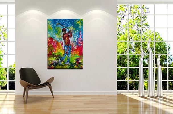 Golfspieler Bilder Abschlag Golfbilder handgemalt Wandbild Malerei Kunst Gemälde
