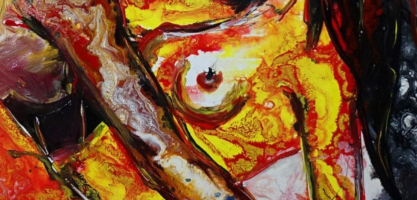 Frauenliebe Liebespaar Akt Malerei Frauen zärtlich Erotisches Gemälde Erotik Bild Kunst