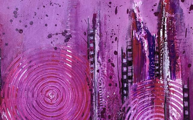 Lila City abstrakte Malerei Wandbild Acrylbild Moderne Kunst Original Gemälde 80x80