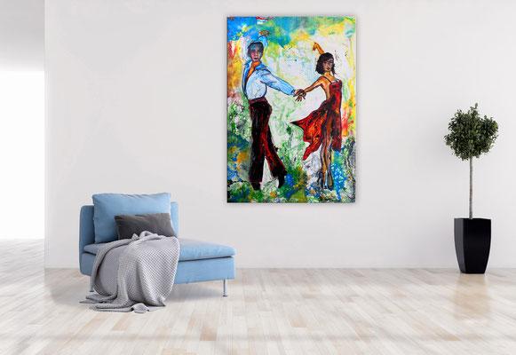 Salsa 21-1 Wandbild Tänzer Tanzbild Tanzpaar Modernes Leinwandbild Original Acrylgemälde Malerei