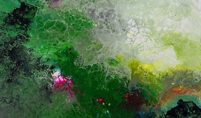Erwachen Fluid Art Abstraktes Wandbild grün rosa Malerei Künstler Bilder