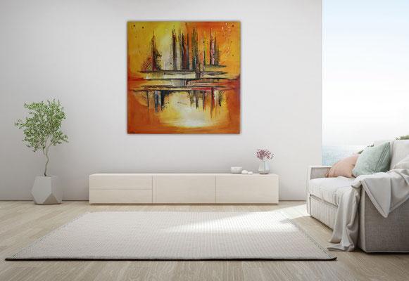 Summer abstraktes Leinwandbild Büro Praxisbild gelb orange Malerei