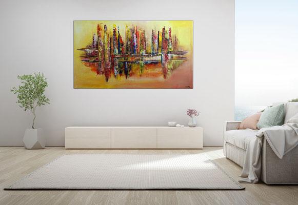 Wüstenstadt abstrakte Skyline Malerei gelb rot modernes Kunstbild Wandbild handgemalt Acrylgemälde 140x80x2 2103