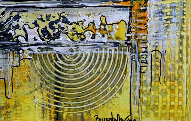 Abstraktes Wandbild gelb grau Acryl Gemälde Unikat Kunst bild