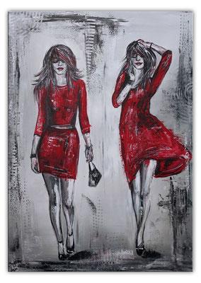 2 Ladys Frauen rote Kleider Malerei Acrylbild Gemälde Unikat Original Kunst 70x100