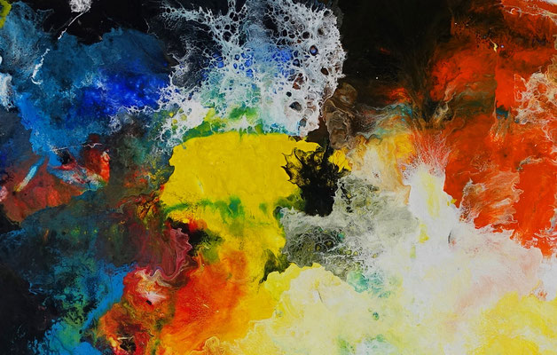 Galaktischer Nebel abstrakt gemalt Fluid Art Wandbild blau gelb bunt Original Gemälde Acryl Malerei