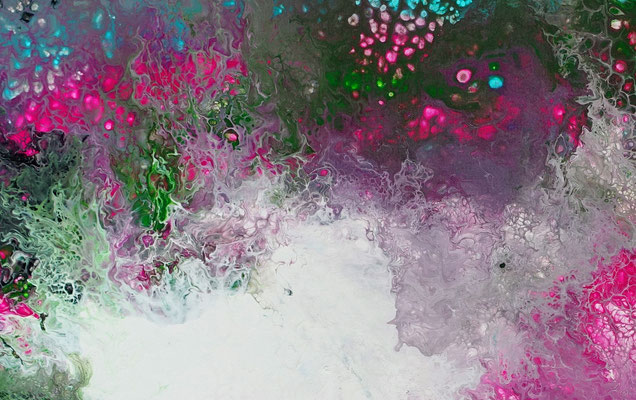 Flares abstrakte Malerei grün rosa Leinwandbild Unikat Original Gemälde