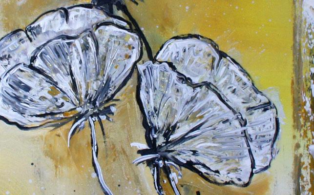 Mohnblumen im Sturm ocker grau weiß Blumenbild Malerei Gemälde Wandbild Blüten