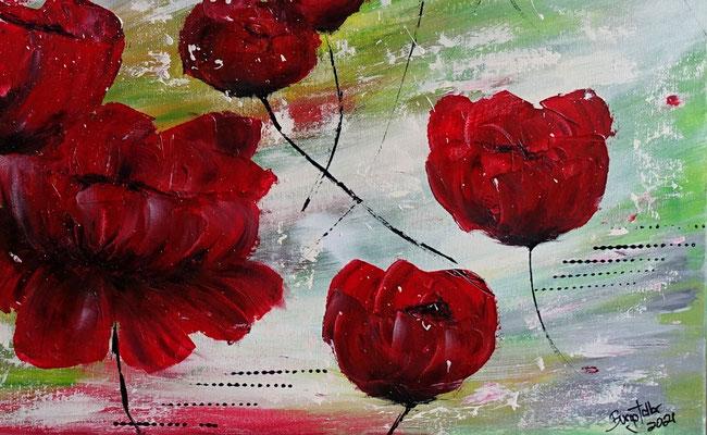 Mohnblumen Tanz Blumenmalerei Wandbild Blüten handgemalt Kunstbild