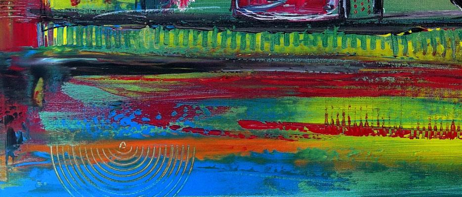 Wein Gläser Weinflasche abstrakte Malerei bunt XXl Wandbild Gemälde 81x116
