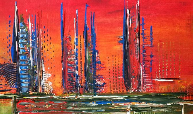 City Sunset abstraktes acrylbild rot gruen bilder kaufen