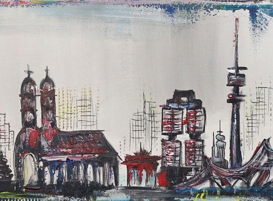 München Skyline abstrakt gemalt Kunstbild Leinwandbild Wandbild Gemälde